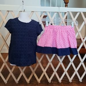 🚨5t Girls navy top and pink anchor skirt🚨
